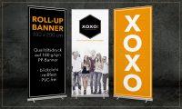 Roll-Up Banner: mobiler Eyecatcher für Ihr Event oder Ladenlokal. Inklusive individueller Gestaltung nach Ihren Vorgaben, Druck und Transporttasche.